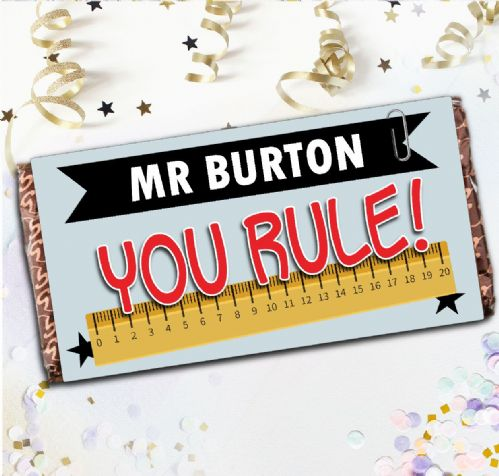 Personalised School Teacher Thank you Milk Chocolate Bar - You Rule Thank You Gift N132